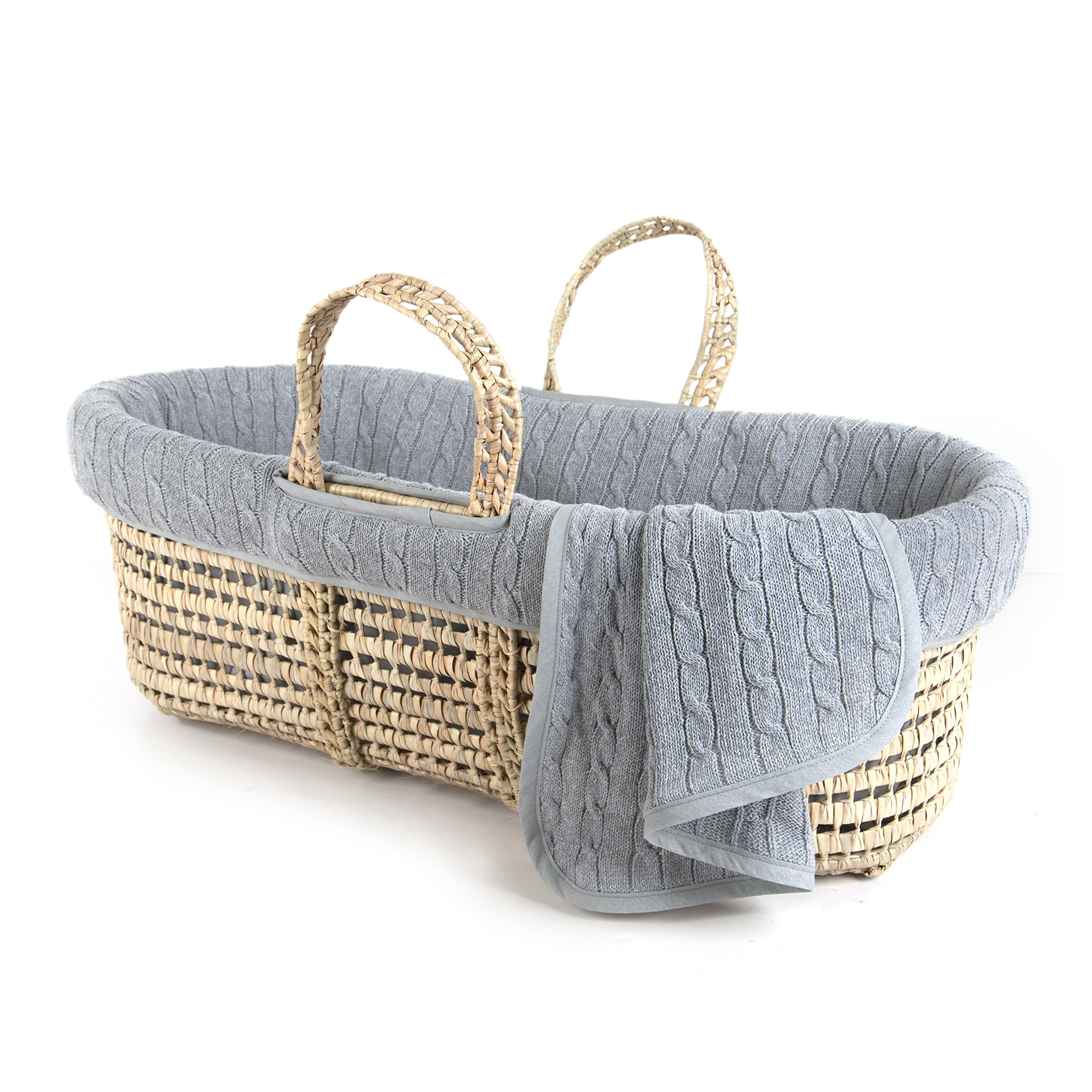 Tadpoles Cable Knit Moses Basket and Bedding, Grey, One Size