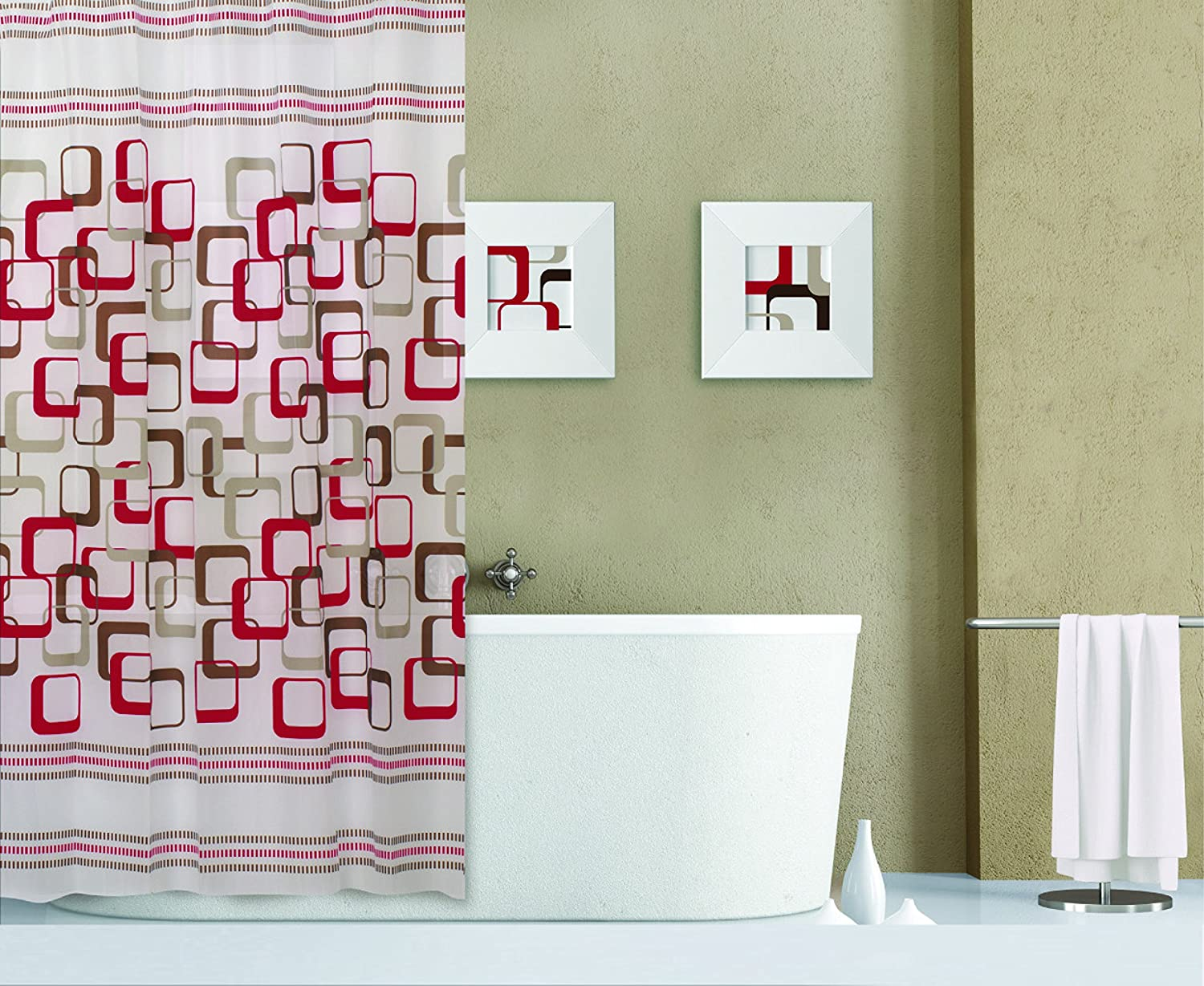 Dainty Home 13-Piece Abstract Containing Shower Curtain and 12 Metal Hooks Set, Red 13ABRE