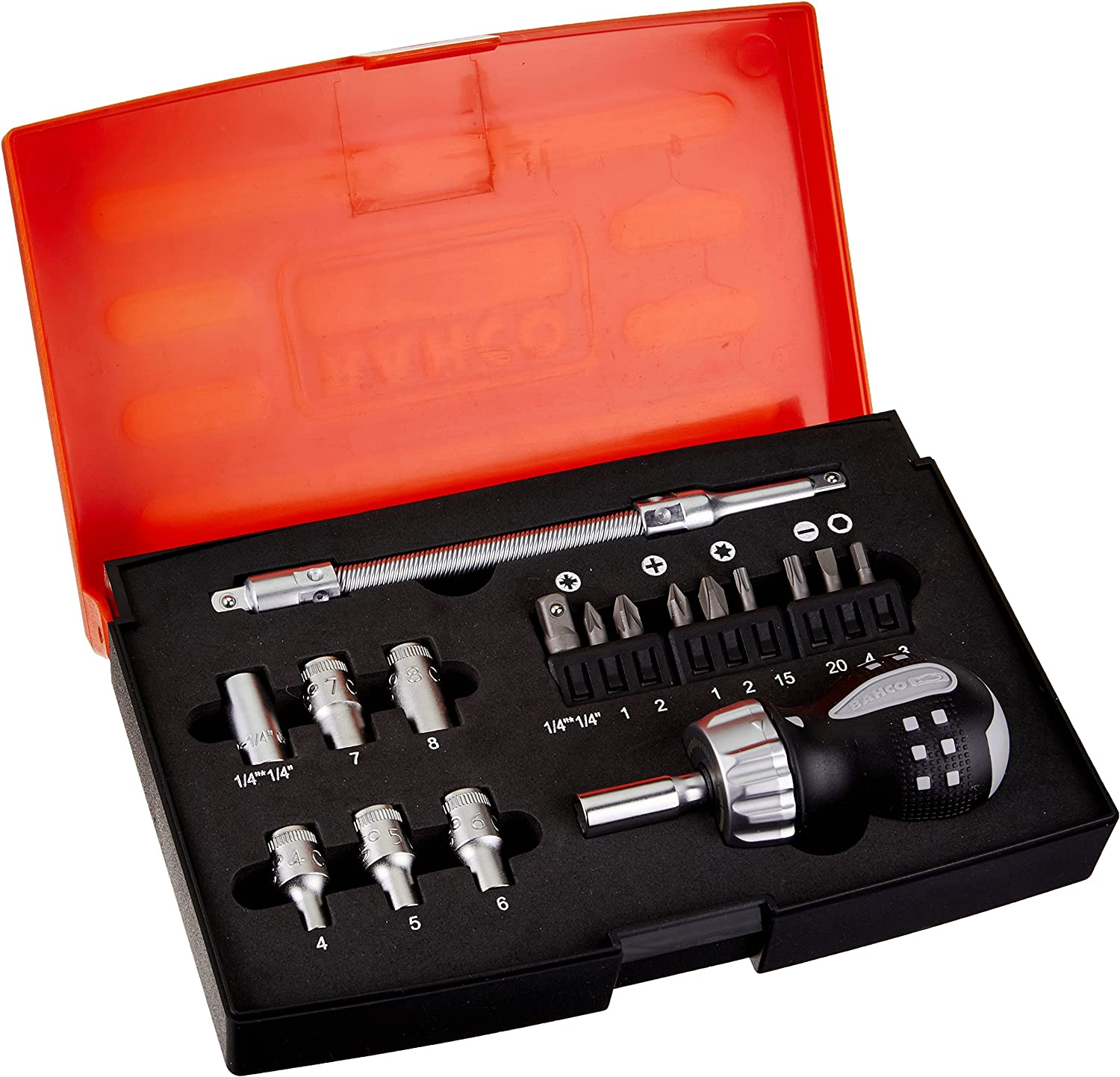 Bahco 808050S-22 Stubby Ratchet Screwdriver Set 22-Piece Snap-On Industrial Brand BAHCO