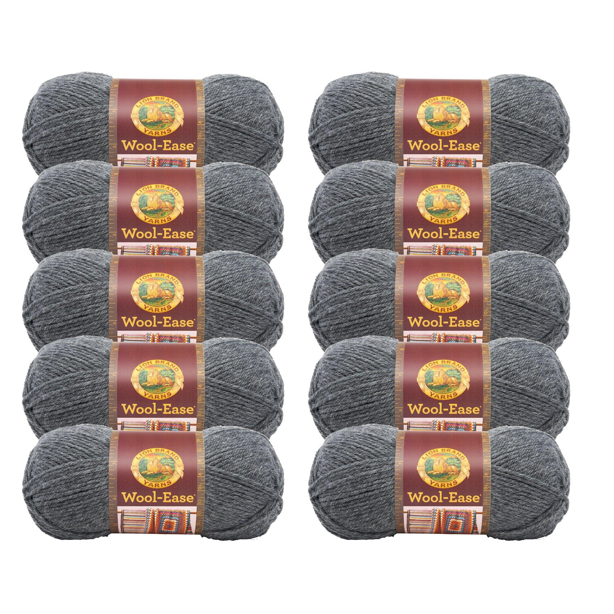 (10 Pack) Lion Brand Yarn 620-152 Wool-Ease Yarn, Oxford Grey