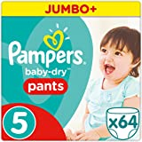 Pampers - Baby Dry Pants - Couches Taille 5 (12-18 kg/Junior) - Jumbo+ Pack (x64 culottes)