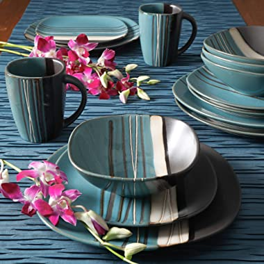 Better Homes and Gardens Bazaar Dinnerware Set, 16-Piece, Teal + Free Cleaning Fabric Cloth