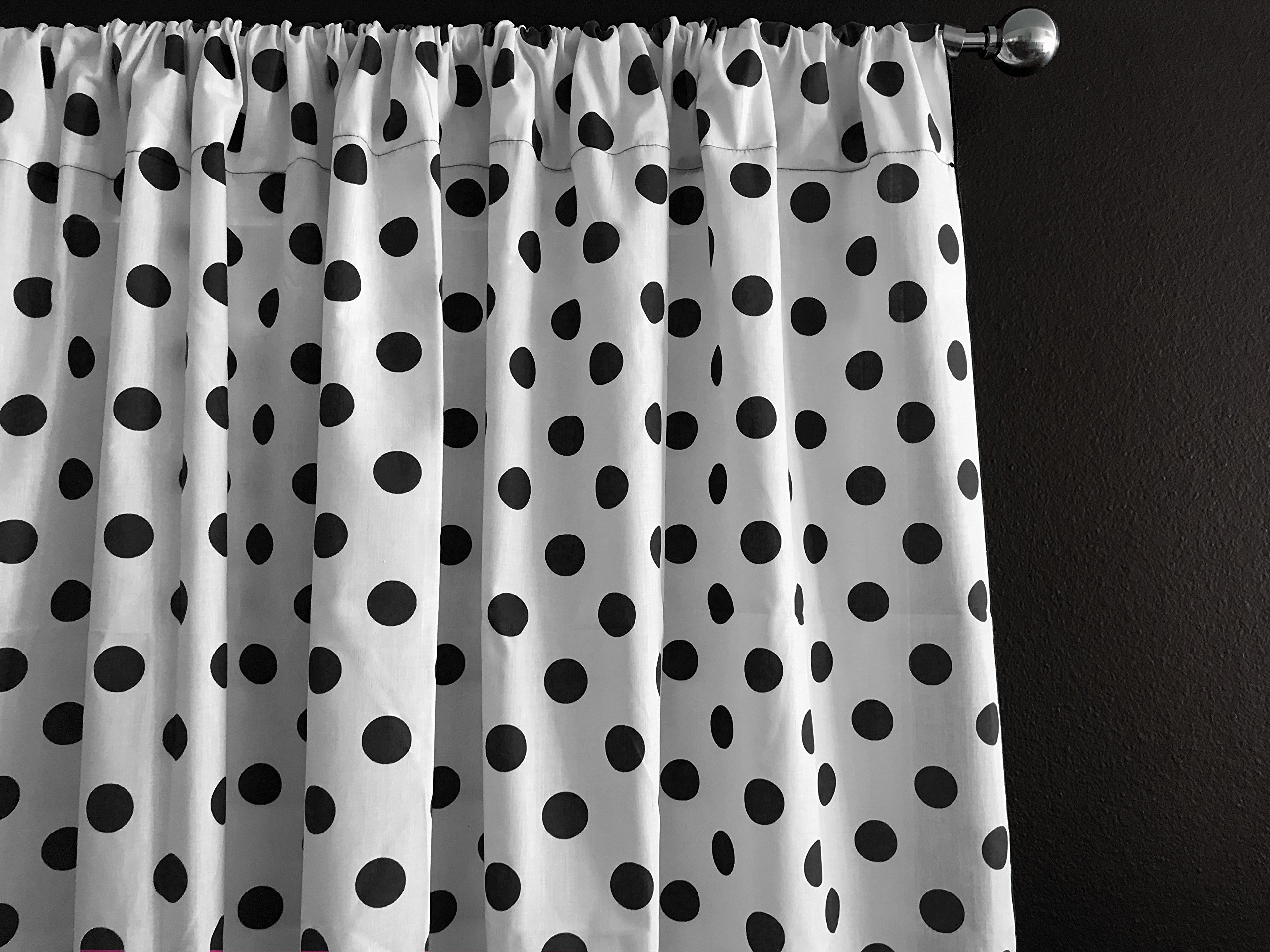 Zen Creative Designs Polka Dots on White Cotton Curtain Panel Perfect for Bed Room Window, Children's Room Window, Living Room Window Decor (Black Dots, 84'' Tall x 58'' Wide)