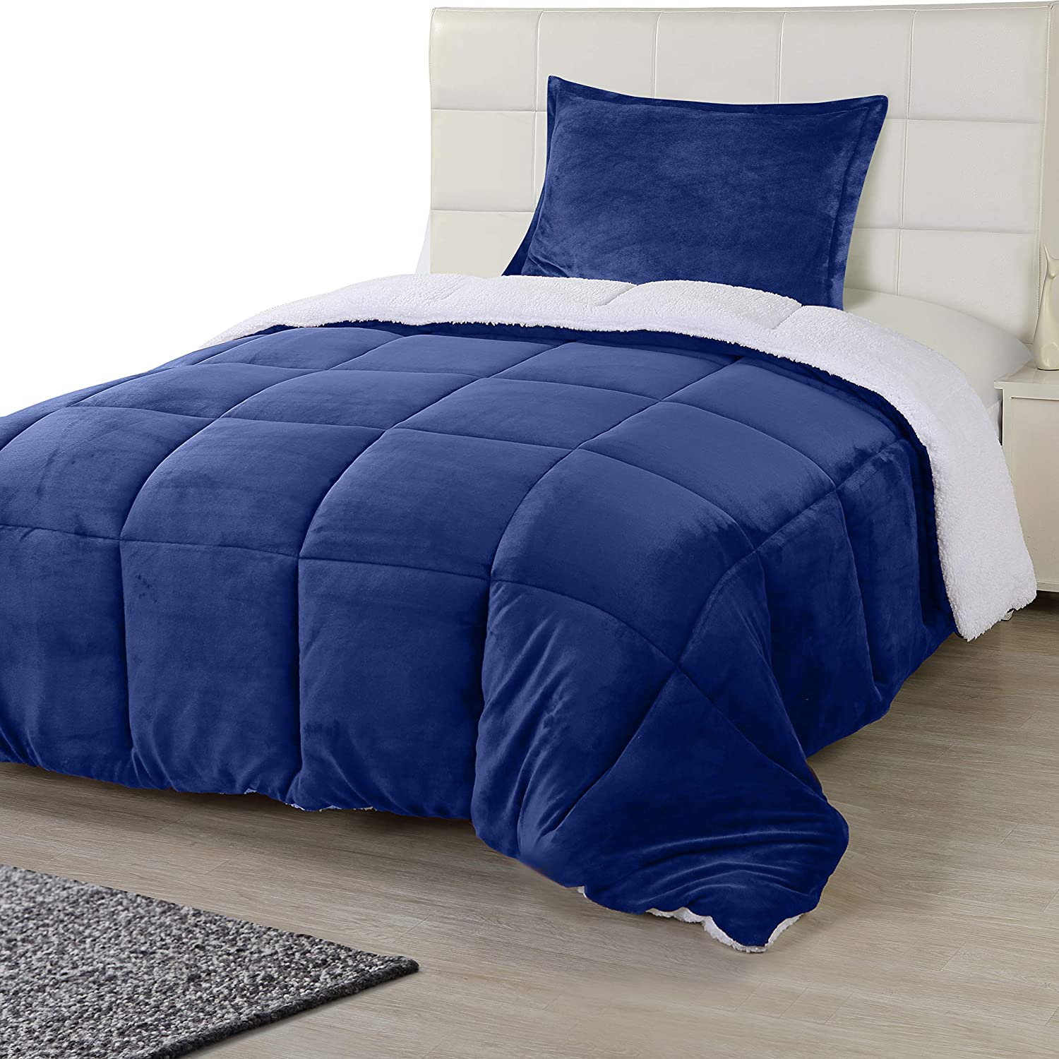 Utopia Bedding All Season Alternative Fleece Comforter - Reversible Sherpa Comforter Set (Twin, Navy) with 1 Pillow Sham - Soft and Comfortable - Machine Washable