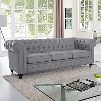 Amazon Com Naomi Home Emery Chesterfield Sofa Gray Kitchen Dining