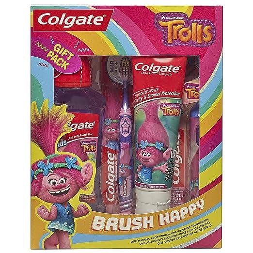 Colgate Kids Toothbrush, Toothpaste, Mouthwash Gift Set, Trolls