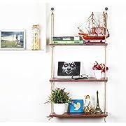 ASLINY - Hanging Shelf Wall - Floating Swing Storage Shelves Jute Rope Organizer Rack, 3 Tier Handmade Shelves