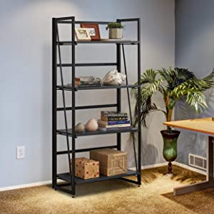 Halter Wooden Bookshelf with Folding Metal Frame. Spacious 49x23x12. Strong, Heavy Duty for Books, Tools, Decor. Fast, Easy Assembly, Movable for Living Room, Office (Gray, 4 Tier, 1-Pack)