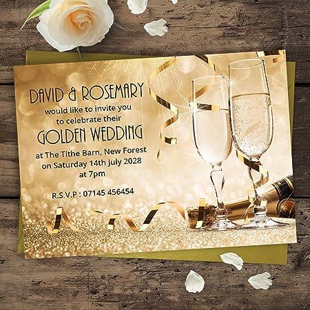 Golden wedding anniversary party invitations 50th champagne golden wedding anniversary party invitations 50th champagne glasses g7l personalised with free gold stopboris Gallery