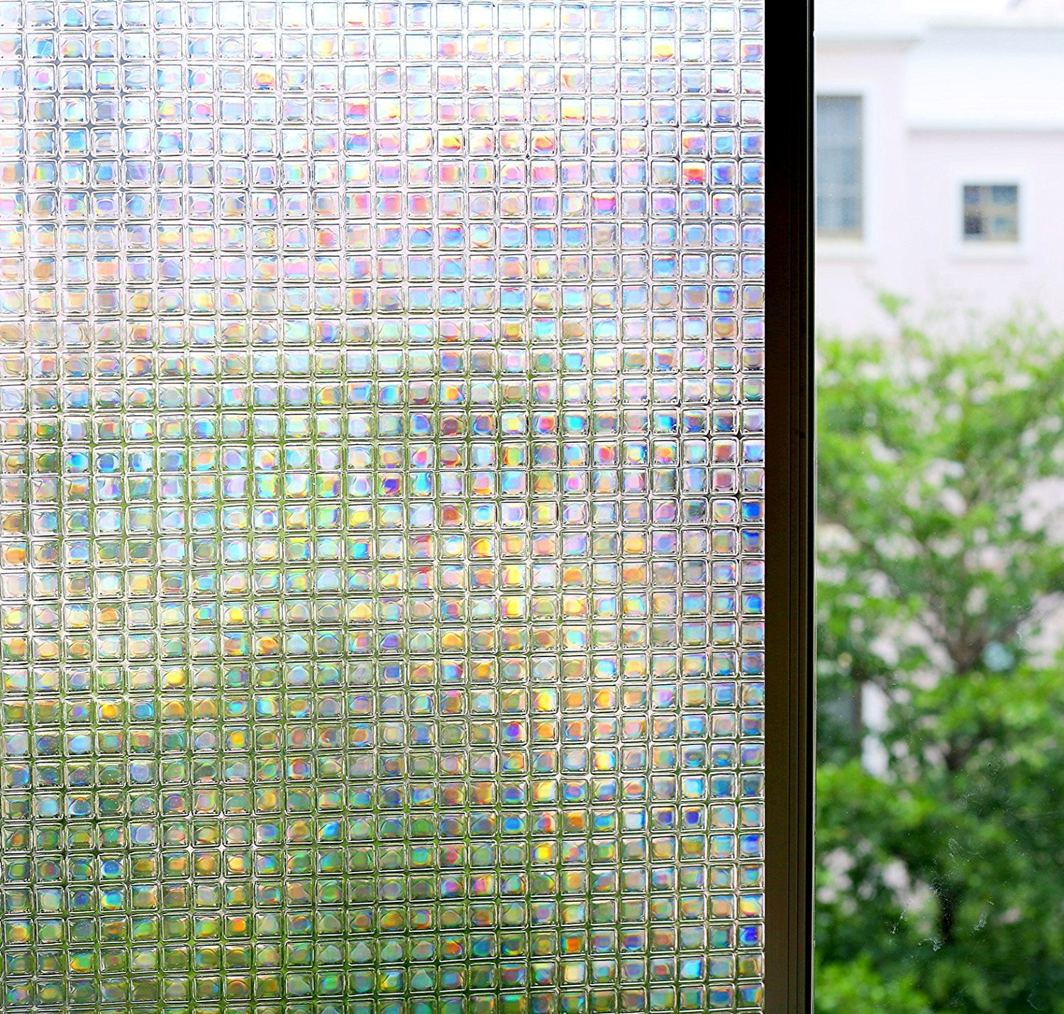 3D No Glue Decorative Window Film, Privacy Protection/Heat Control/Anti UV/Reflective Window Decoration Glass Door Cling, Stained Glass Window Tint Home/Office, 35.5x78.7 inch Mosaic