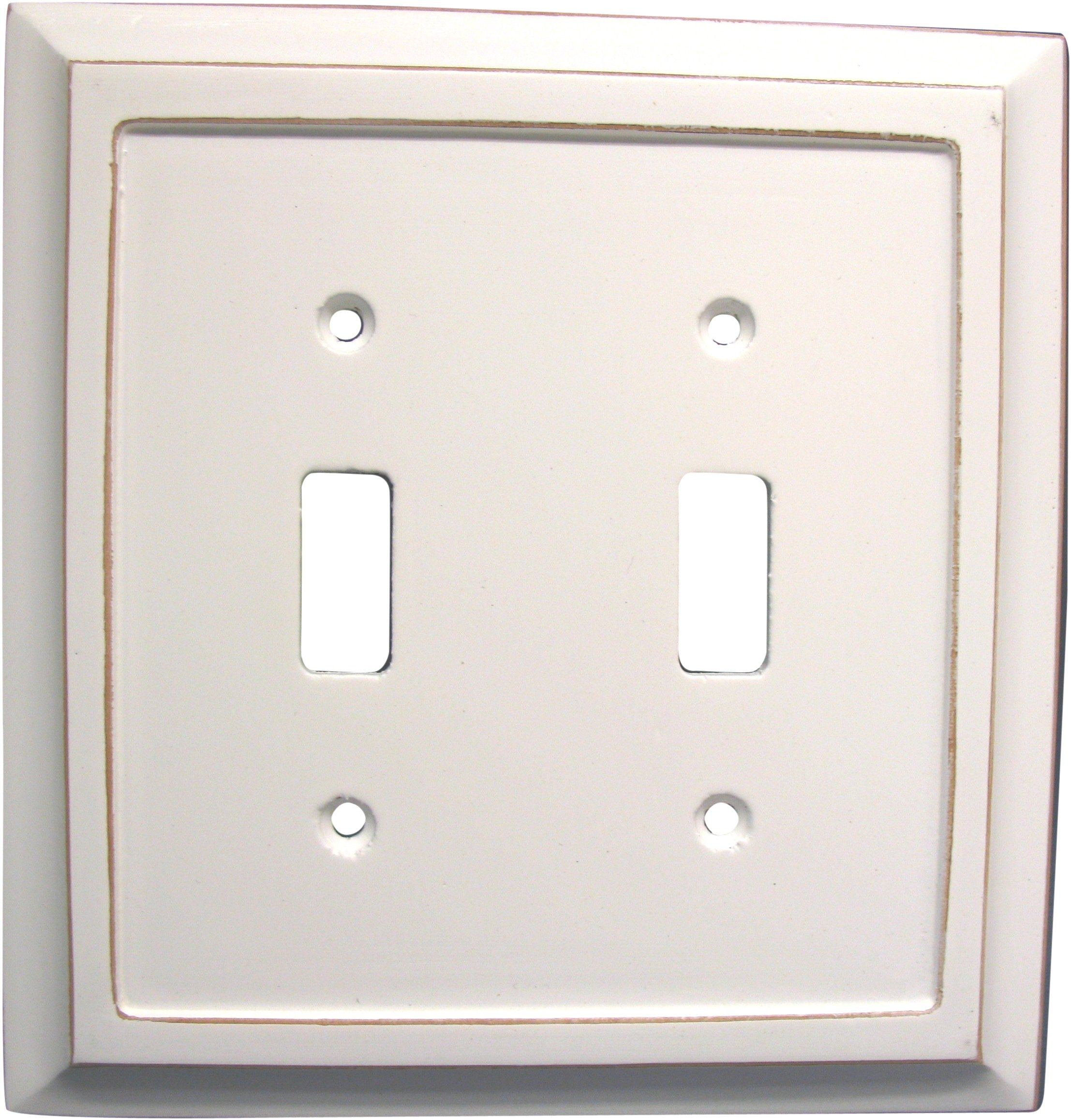 AmerTac 4040TTDW 2 Toggle Savannah Wood Wallplate, Distressed White