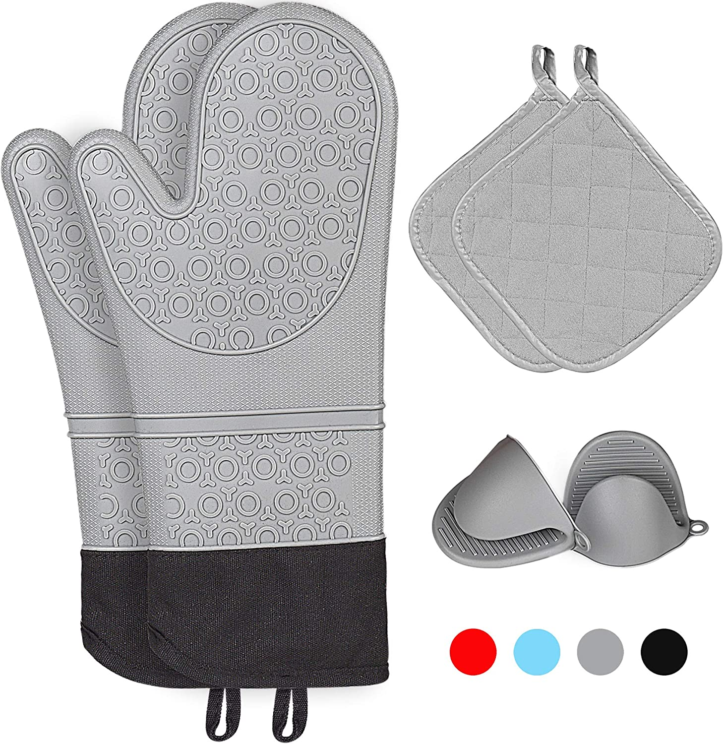 Kiya Silicone Oven Mitts & 2 Pot Holders & 2 Cooking Pinch Mitts(6-Piece Sets) - Heat Resistant to 460 F - Extra Long Oven Gloves with Soft Inner Lining (Grey)