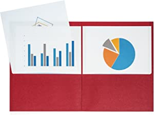 Blue Summit Supplies 25 Two Pocket Folders, Designed for Office and Classroom Use, Red 25 Pack Colored 2 Pocket Folders