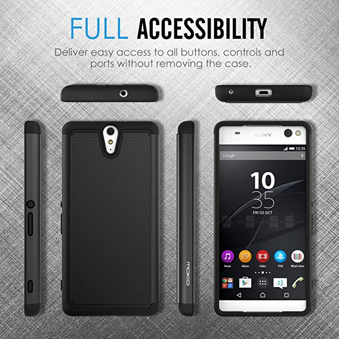 Sony Xperia C5 Ultra Case, MoKo [Shock Absorption] Slim Dual Layer Protective Case with Soft Silicone Bumper and Rigid PC Back Cover for Sony Xperia ...