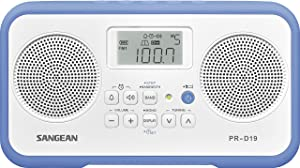Sangean PR-D19BU FM Stereo/AM Digital Tuning Portable Radio with Protective Bumper (White/Blue)