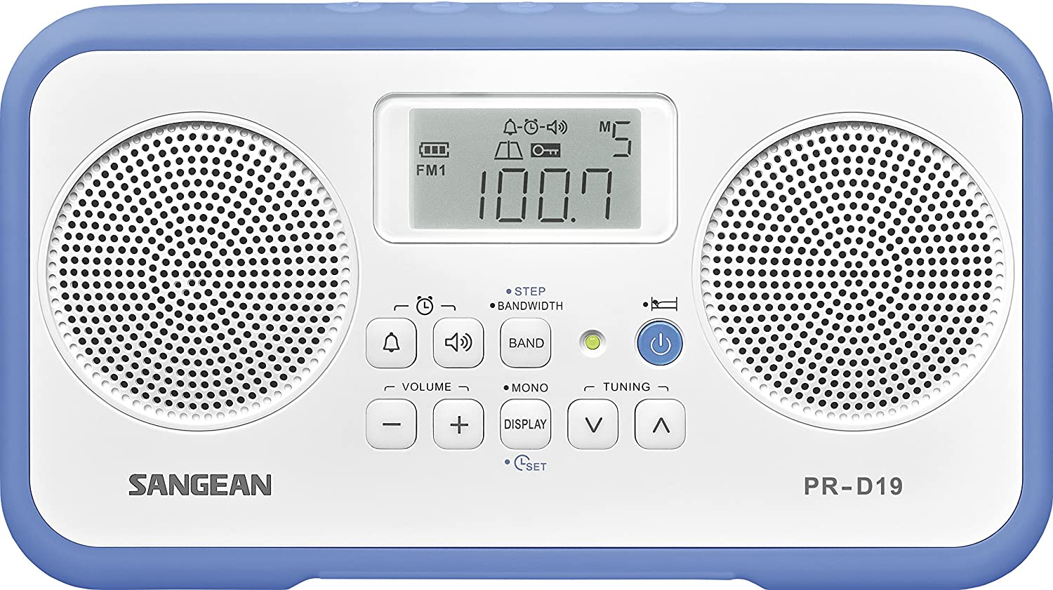 Sangean PR-D19BU FM Stereo/AM Digital Tuning Portable Radio with Protective Bumper, White/Blue