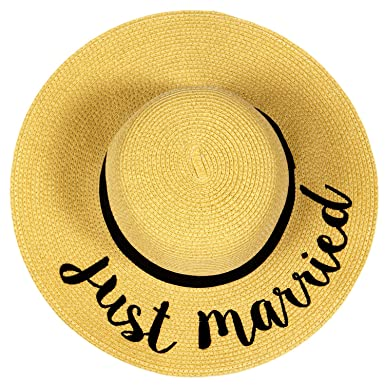 e5eb32c6 Image Unavailable. Image not available for. Color: Anytime Scarf JUST  Married Emboridered Straw Floppy Hat ...