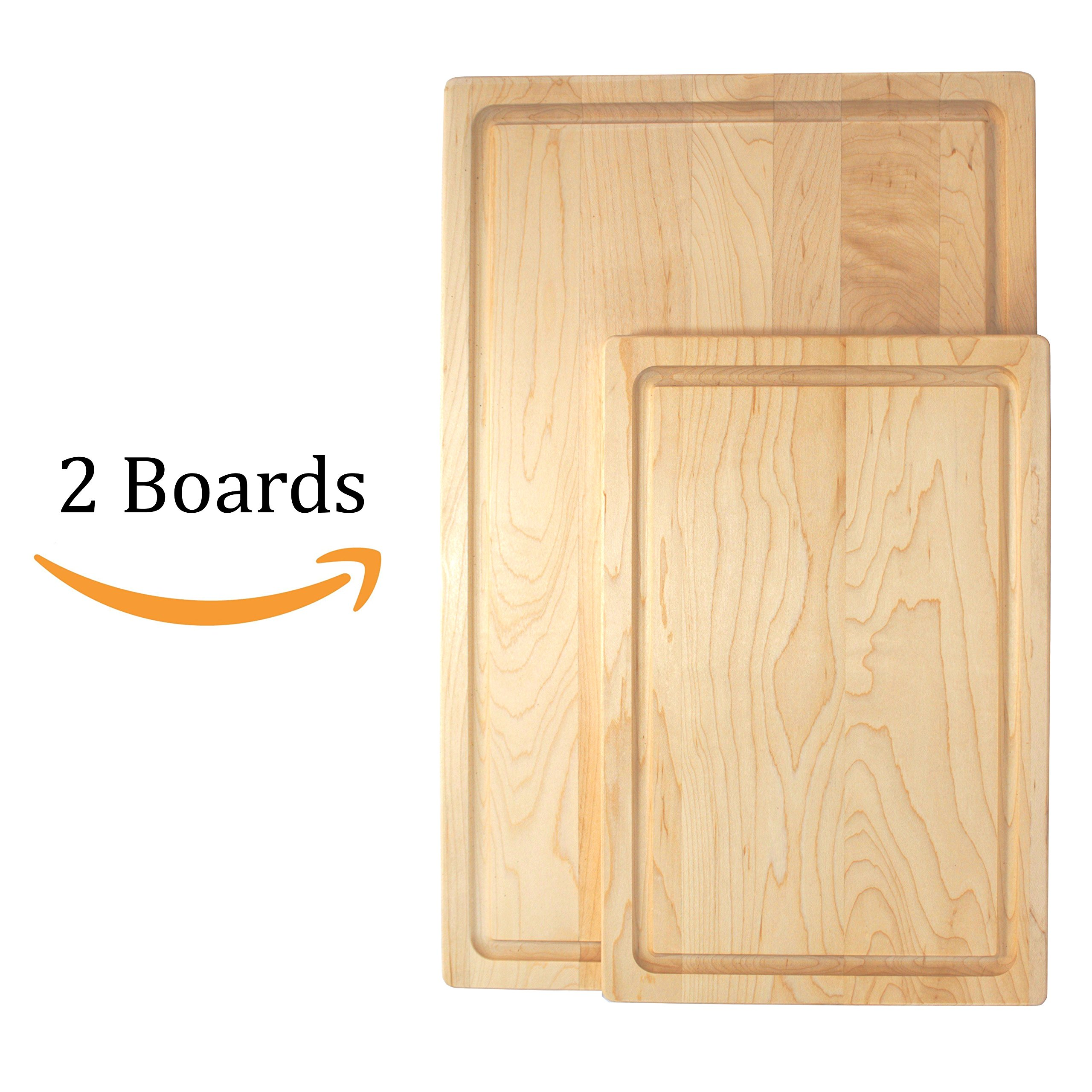 KitchenTalent Maple Cutting Board Set - Large and Small Maple Hardwood Chopping Boards With Juice Groove - 11 x 17 x .75-8 x 12 x .75 - Solid Wood Butcher Block - Great Gift Idea