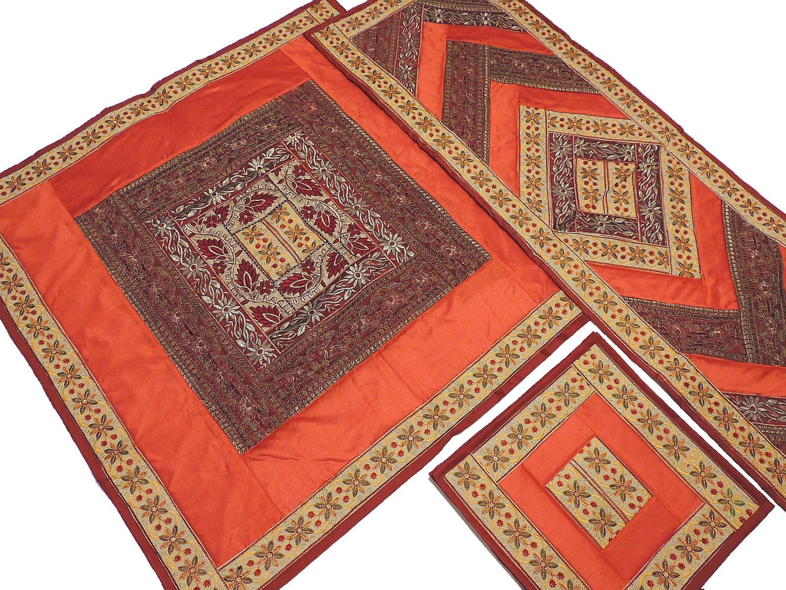 Rust Orange and Maroon Embroidered Classic Tablecloth, Table Runner and 4 Placemats Set in Dupioni Art Silk from India ~ Tablecloth - 40 Inch, Runner - 60 Inch x 20 Inch, Placemats - 16 Inch