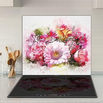 Herdabdeckplatten 60x52 cm Ceranfeld Abdeckung Glas Spritzschutz Küche Blumen