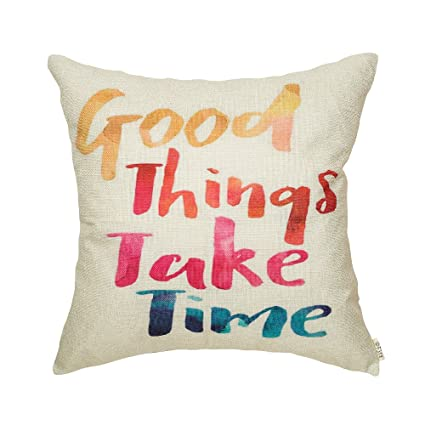 Fjfz Watercolor Good Things Take Time Motivational Sign Inspirational Quote  Cotton Linen Home Decorative Throw Pillow