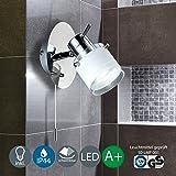 B.K.Licht Applique murale à LED pour salle de bains, orientable, protection contre les projections d'eau IP44, interrupteur à tirette - Spot de salle de bains GU105W 400lm, blanc chaud, chromé