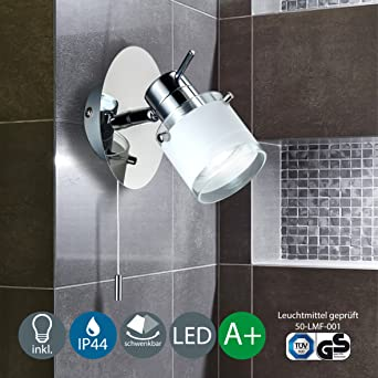LED Bad Wandleuchte Wandlampe schwenkbar spritzwasser geschützt ... | {Badlampe wandlampe 45}