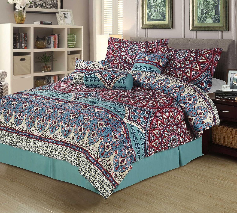 Amazon.com: King Boho Medallion 7 Piece Bedding Comforter Bed Set Teal Red  Pink Mandala: Home & Kitchen