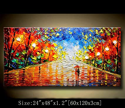 Amazon.com: Abstract Modern Canvas Painting, Contemporary Wall Art ...