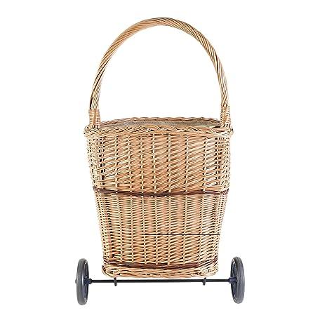 Kamino - Flam - Carrito para transportar leña, con 2 ruedas y 1 asa para leña, Carrito de mimbre para manualidades - Color de madera, 20 litros, 41/45/50-80 ...