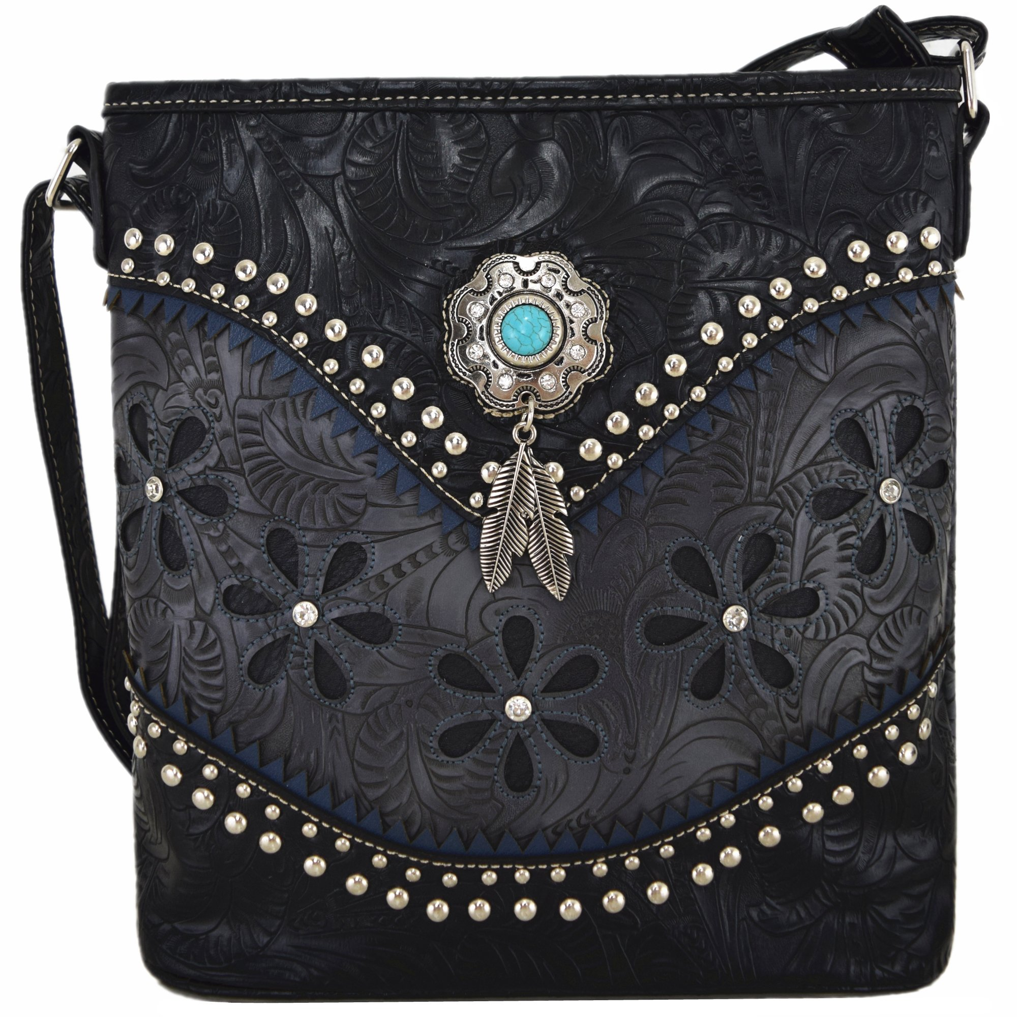 Western Style Tooled Leather Cross Body Handbags Concealed Carry Purse Women Country Single Shoulder Bag (Black)