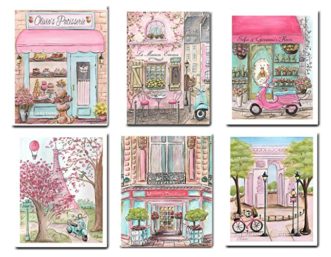 Pink Paris Themed Room Decor Fine Art Prints For Girls Bedroom,  Personalized, Set Of