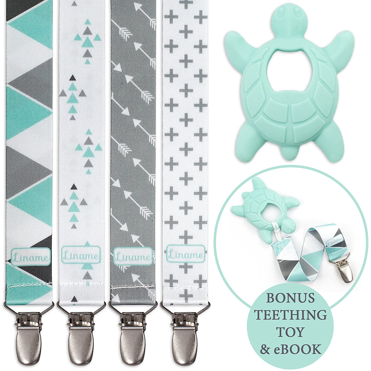 Liname Pacifier Clip for Boys with BONUS Teething Toy & eBook - 4 Pack Gift Packaging - Premium Quality & Unique Design - Pacifier Clips Fit ALL Pacifiers & Soothers - Perfect Baby Gift green4