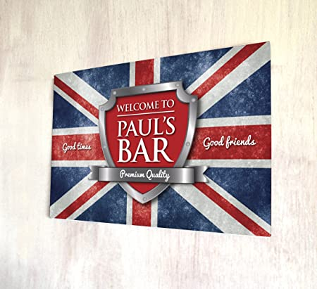 personalised welcome british union jack flag bar a4 metal sign
