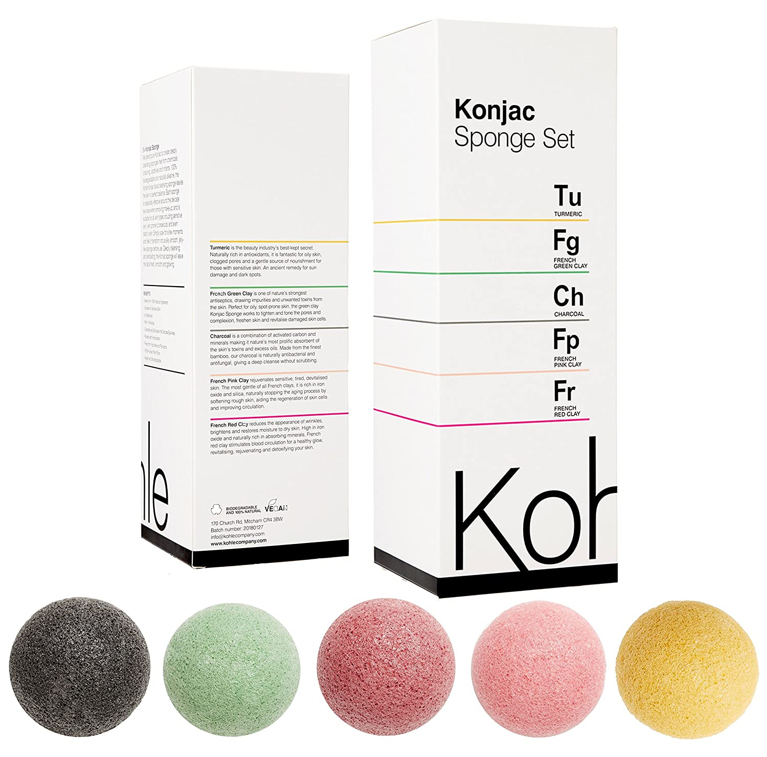 Konjac Sponge Set (5 Pack): Organic Skincare Face & Body Cleansing + Exfoliating Sponges, 100% Pure Facial & Hypoallergenic #1 UK BESTSELLER. Charcoal, Turmeric, French Green, Red & Pink Clay. Kohle Company
