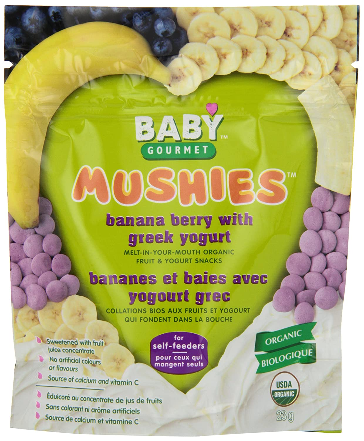 Baby Gourmet Mushies Banana Berry with Greek Yogurt, 8-Pack Baby Gourmet Foods Inc MBBGYOGCSCD0008