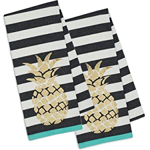 DII Set of 2 Golden Pineapple Dishtowels with Black and White Stripes (2)