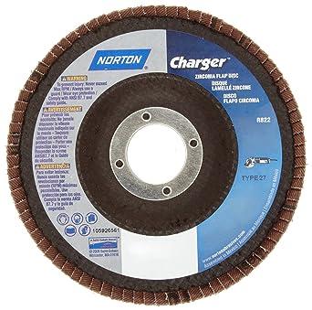Norton Charger R822 High Performance Abrasive Flap Disc 4-1//2 Dia. Pack of 1 Round Hole Fiberglass Backing Type 27 Zirconia Alumina 80 Grit