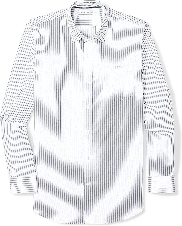 Amazon Essentials Men/'s Slim-Fit Wrinkle-Resistant Long-Sleeve Stripe Dress