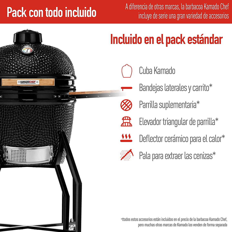 Kamado Chef Barbacoa de cerámica 1600 Classic Diamond Black, Parrilla de carbón para brasear, Hornear, ahumar - Una Experiencia Culinaria: Amazon.es: Jardín