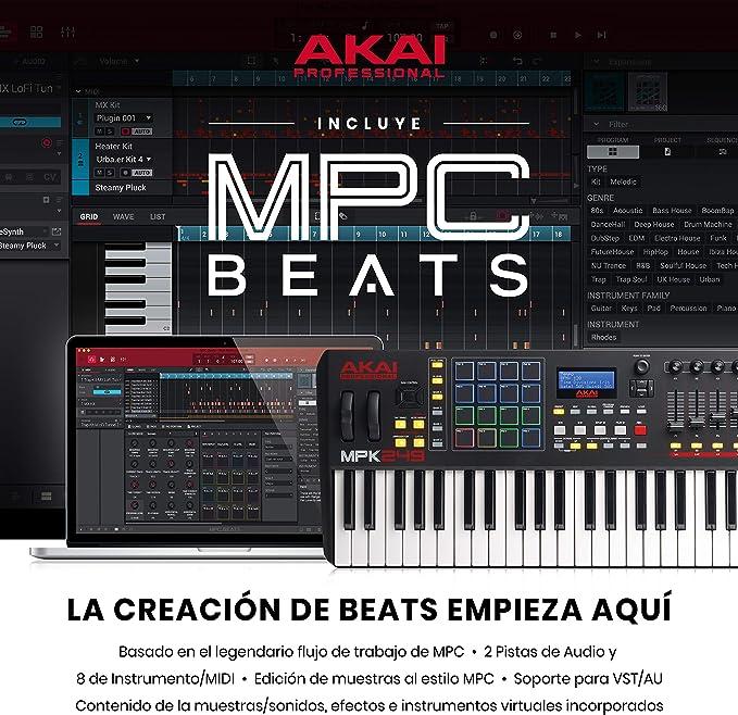 AKAI Professional MPK249 - Teclado controlador MIDI USB de 49 teclas semi-contrapesadas, controles MPC asignables, 16 Pads, Q-links, botones, ...