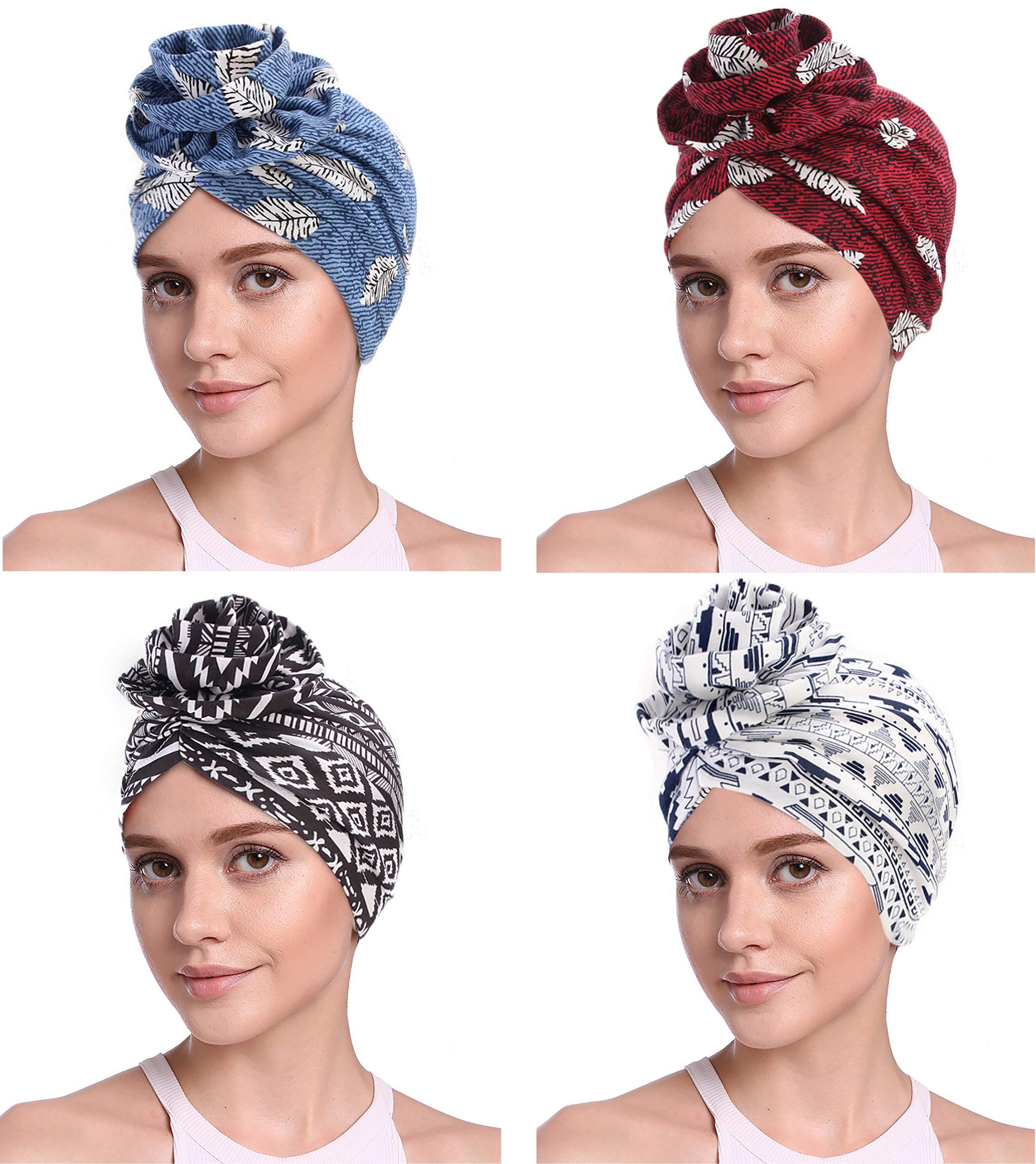JarseHera Cotton Turbans for Women Flower Knot Headwrap Pre-Tied Bonnet Boho Pattern Chemo caps for Hair Loss by JarseHera