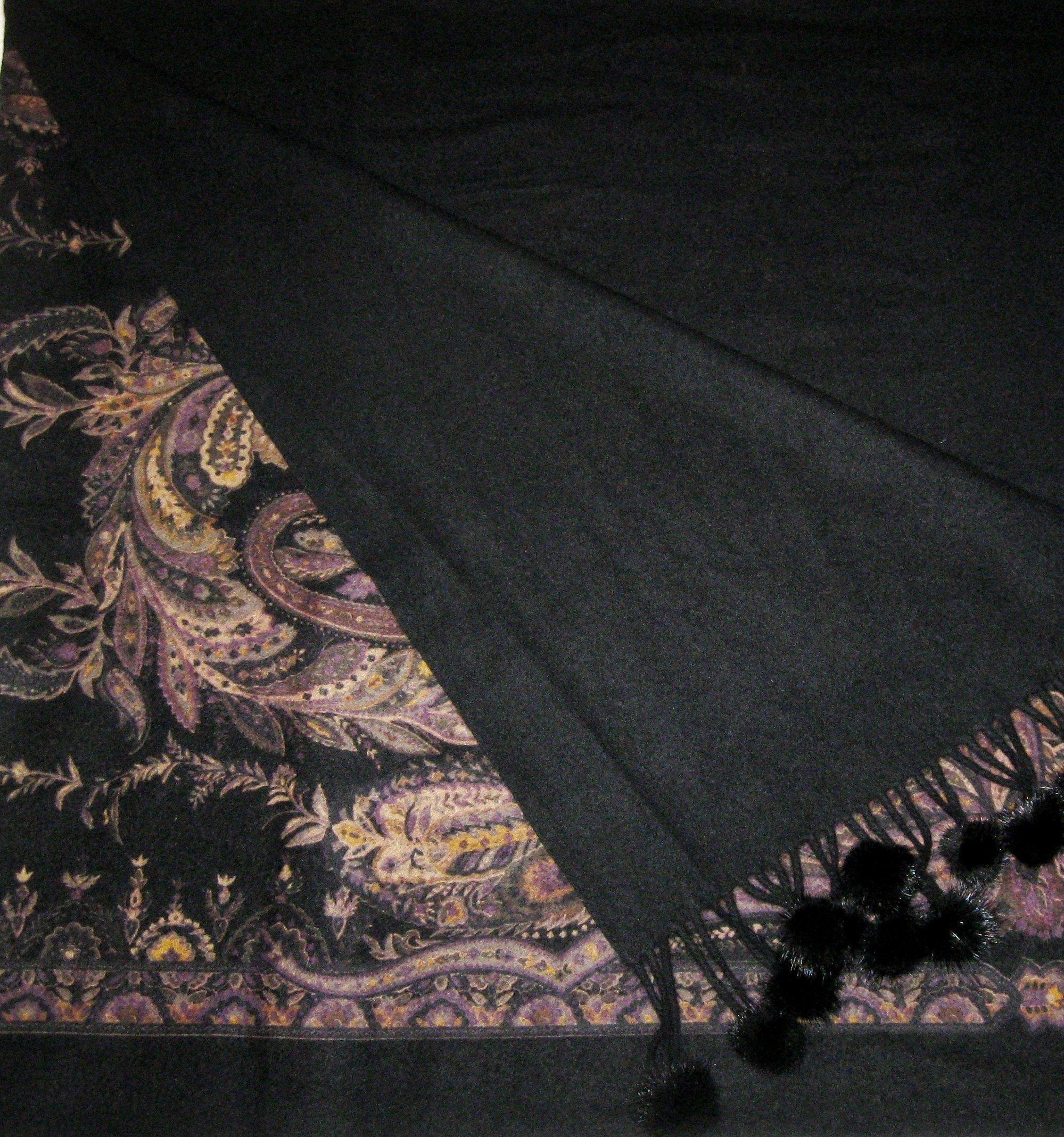 Cashmere Pashmina Group-Cashmere Shawl Scarf Wrap Stole (Solid/ Reversible Print w/ Genuine Fur) - Mink Black by Cashmere Pashmina Group (Image #1)