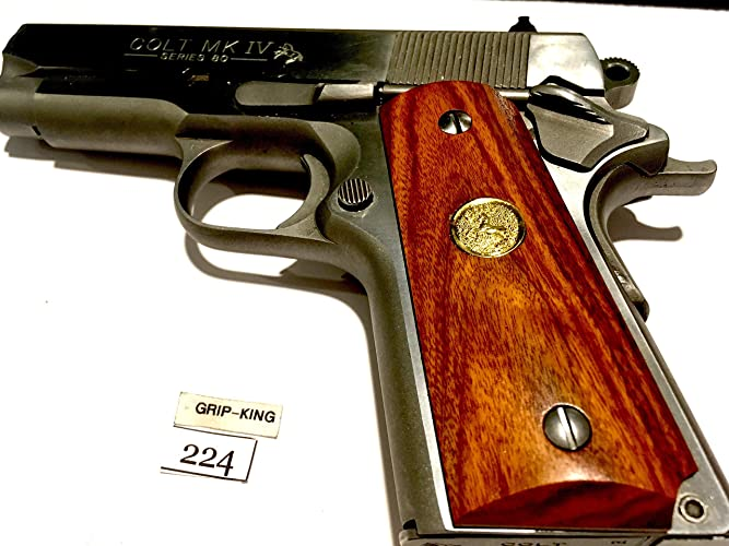 1911 compact grips, # 224,exotic zebra rose wood,tapered bottoms fits 3-4  inch barrel colt officers,defenders,made in u s a  sale $29 73