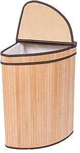 BIRDROCK HOME Corner Laundry Hamper with Lid and Cloth Liner - Bamboo - Natural - Easily Transport Laundry Basket - Collapsible Hamper - String Handles