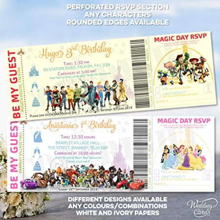 carte invitation Disney princesse héros fête anniversaire cadeau fille garçon
