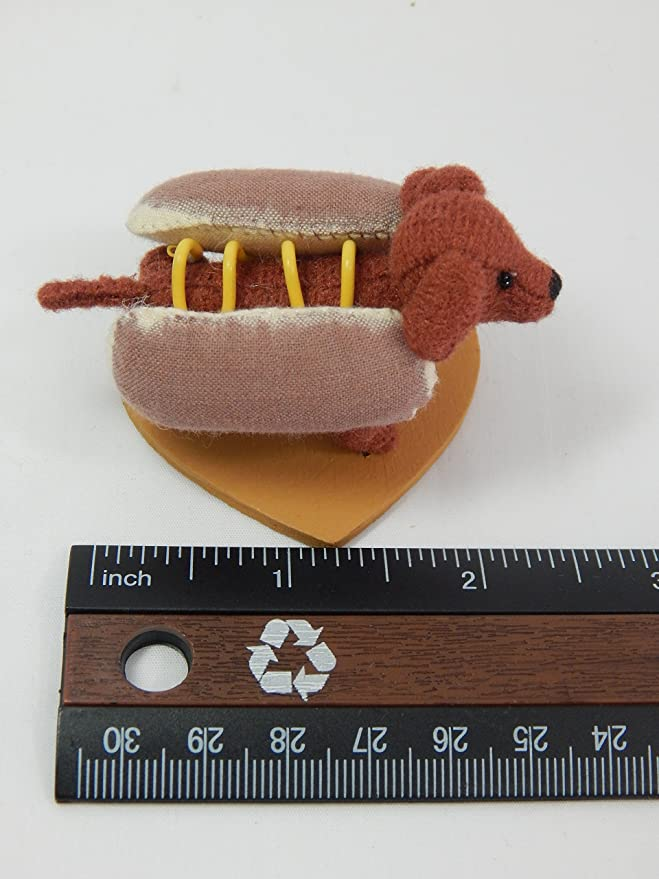 """World of Miniature Bears 2.5x1.5/"""" Polysuede Hot Dog Franklin #1149 Collectibles"""