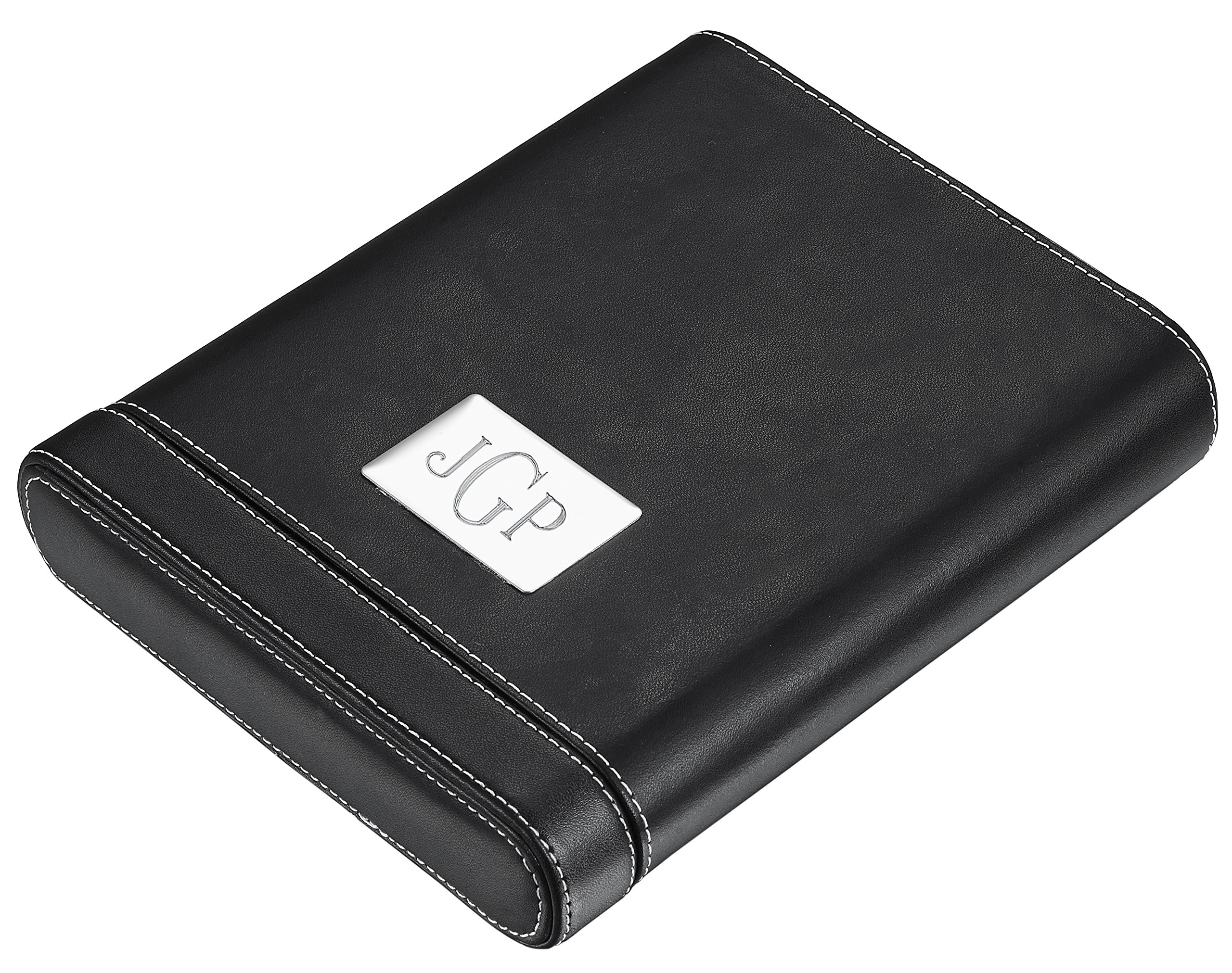 Personalized Visol Rennes II Black Leather 5 Cigar Case with Free Engraving