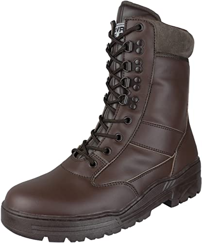 Savage Island Brown Full Leather Side Zip Army Patrol Combat Boots Tactical  Cadet Military (3 888382ad2e5