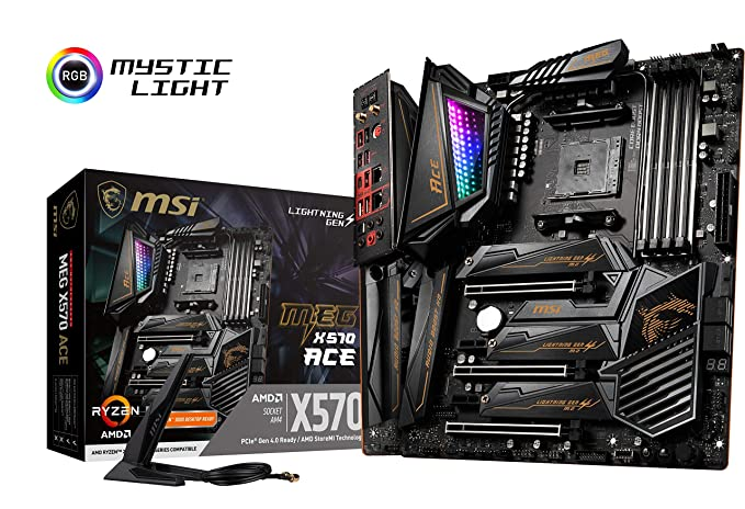 MSI Meg X570 Ace - Placa Base (Chipset AMD X570, DDR4, Audio Boost, Intel Lan, Socket AM4, Wi-Fi, Soporta AMD Pocesadores) Color Negro